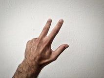 рука на белой предпосылке, часть тела, часть руки, белая кожа, 3 пальца, показывает номер, внутри стоковые фото
