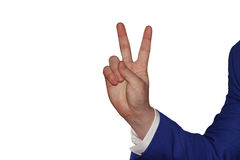 Рука на белой предпосылке Стоковая Фотография