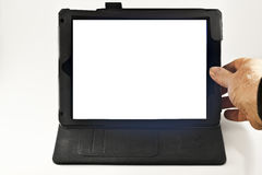 Рука на цифровой таблетке Стоковое Фото
