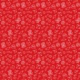 Рука дня ` s валентинки красная рисуя безшовную картину Стоковое Изображение RF