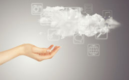 Рука, облако и иконы мультимедиа Стоковые Изображения RF