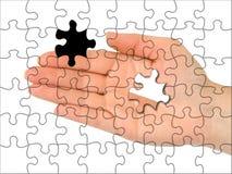 рука одна головоломка части стоковые изображения