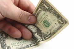 рука одно доллара счета Стоковая Фотография RF