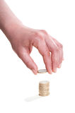 рука одно евро монетки Стоковые Изображения