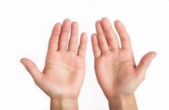 рука открытая На белой предпосылке Стоковая Фотография
