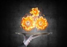 Рука официантки представляя пламенеющие cogwheels Стоковая Фотография