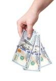 рука доллара держа 100 примечаний Стоковое Фото
