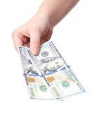 рука доллара держа 100 примечаний Стоковое фото RF