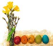 Рука пасхальных яя покрашенная с букетом daffodils цветков, ca Стоковые Изображения RF