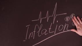 Рука персоны показывая концепцию инфляции с диаграммой доллара на классн классном Стоковые Изображения RF