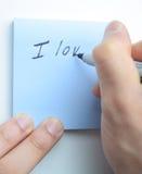 Рука писать я тебя люблю! Стоковые Фотографии RF