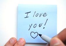 Рука писать я тебя люблю! Стоковая Фотография RF
