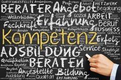Рука пишет в немце стоковая фотография rf