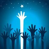 Рука поднимает вверх для звезды иллюстрация вектора