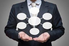 Рука позиции бизнесмена стоящая держа схему технологического процесса стратегии изолированный на серой предпосылке стоковые фото