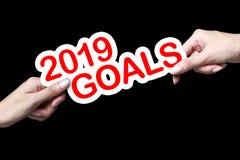 Рука показывая цели 2019 стоковое фото