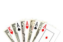 Рука покера 4 вида в тузах с бумажными деньгами доллара США бесплатная иллюстрация