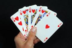 Рука покера королевского притока. Стоковая Фотография
