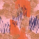 Рука покрасила иллюстрацию в ретро цветах для ткани, создавая программу-оболочку дизайн, животная воодушевленная печать иллюстрация штока