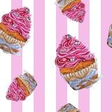 Рука покрасила картину пирожного пинка акварели безшовную бесплатная иллюстрация