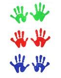 рука покрасила печати Стоковое Фото