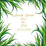 Рука покрасила рамку зеленой травы акварели Смогите быть использовано как декоративный элемент для поздравительной открытки, приг иллюстрация штока