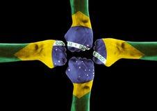 Рука покрашенная вместе с флагом Бразилии Стоковая Фотография RF