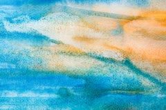Рука предпосылки ландшафта моря покрашенная в акварели Стоковые Изображения RF