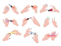 Рука прикладывая набор маникюра Собрание руки делая маникюр иллюстрация штока
