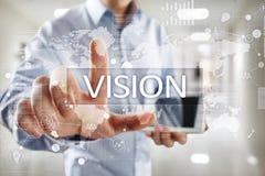 рука принципиальной схемы коммерсантки 3d указывая слово зрения Дело, интернет и концепция технологии Стоковая Фотография RF