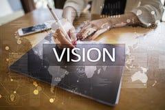 рука принципиальной схемы коммерсантки 3d указывая слово зрения Дело, интернет и концепция технологии Стоковая Фотография