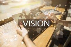 рука принципиальной схемы коммерсантки 3d указывая слово зрения Дело, интернет и концепция технологии Стоковые Изображения RF