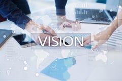 рука принципиальной схемы коммерсантки 3d указывая слово зрения Дело, интернет и концепция технологии стоковое фото