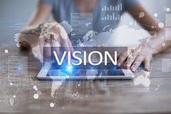 рука принципиальной схемы коммерсантки 3d указывая слово зрения Дело, интернет и концепция технологии Стоковое фото RF