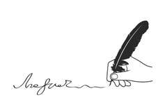 Рука прилагает подпись на белой предпосылке бесплатная иллюстрация