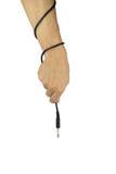 Рука при тональнозвуковой кабель изолированный на белой предпосылке Стоковое Изображение RF