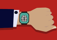 Рука при умный вахта показывая мозг Стоковые Изображения
