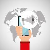 Рука проводит мультимедиа loadspeaker smartphone онлайн Стоковое фото RF