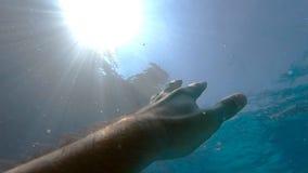 Рука прося помощь и пробуя достигнуть к солнцу Точка зрения человека тонуть в море или океане и плавая к сток-видео