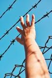 Рука пленника держа стальной прут Стоковые Изображения