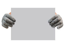 Рука работника gloved держа серую доску Стоковая Фотография RF