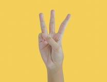 Рука ребенк подсчитывая 3 Стоковое фото RF