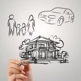 Рука рисует будущее семьи планирования стоковые изображения
