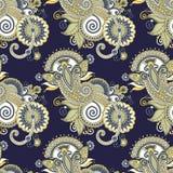 Рука рисуя богато украшенный безшовный дизайн Пейсли цветка Стоковое Изображение