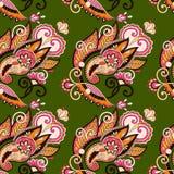 Рука рисуя богато украшенный безшовный дизайн Пейсли цветка Стоковая Фотография RF
