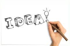Рука рисуя схематичное слово идеи с электрической лампочкой Стоковые Фото