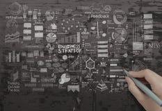 Рука рисуя творческую стратегию бизнеса стоковое фото rf