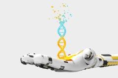 Рука робота разрушает человеческую стренгу дна иллюстрация вектора