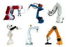 Рука робота собрания механически и камера в будущем, работа вместо человека стоковая фотография rf