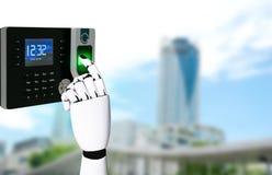 Рука робота с технологией скеннирования отпечатка пальцев стоковые фотографии rf